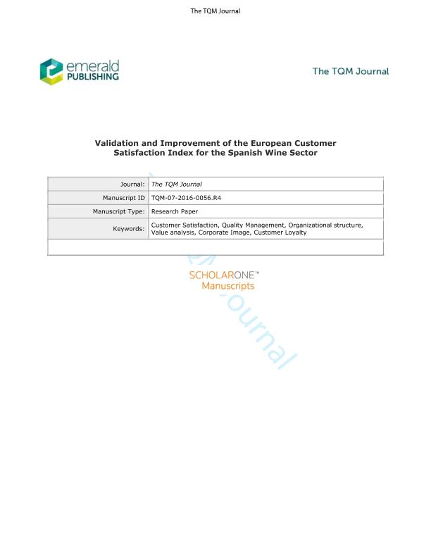 Validation and Improvement of the European Customer Satisfaction Index for the Spanish Wine Sector