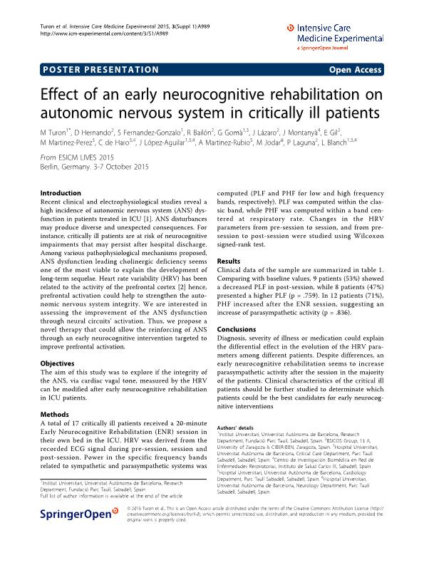 Effect of an early neurocognitive rehabilitation on autonomic nervous system in critically ill patients