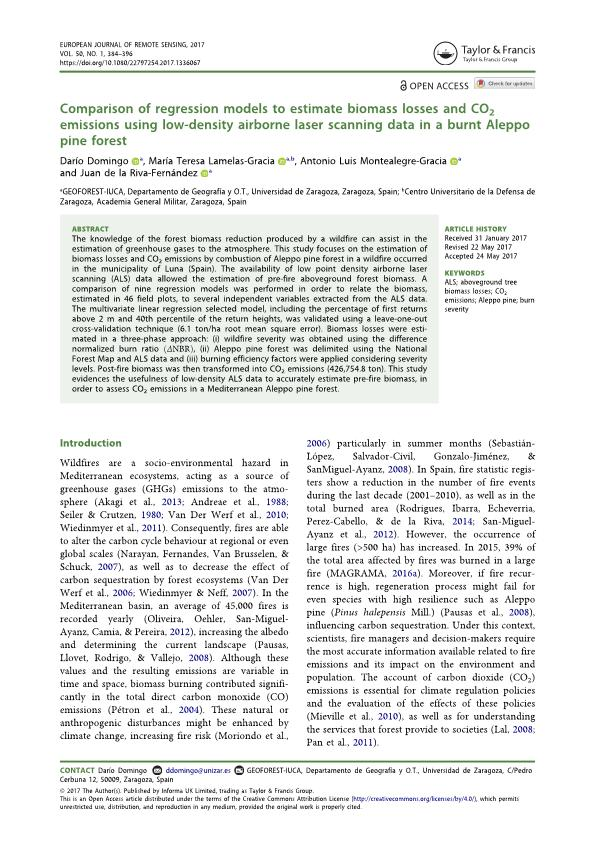 Comparison of regression models to estimate biomass losses and CO2 emissions using low-density airborne laser scanning data in a burnt Aleppo pine forest