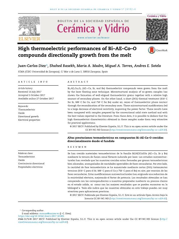 Altas prestaciones termoeléctricas en compuestos Bi-AE-Co-O crecidos direccionalmente desde el fundido