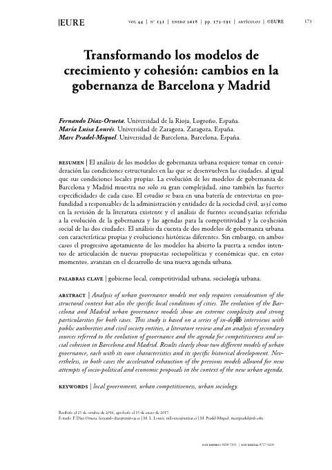 Transformando los modelos de crecimiento y cohesión: Cambios en la gobernanza de Barcelona y Madrid