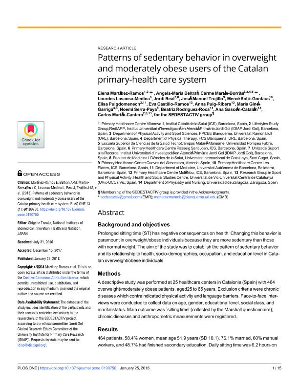 Patterns of sedentary behavior in overweight and moderately obese users of the Catalan primary-health care system