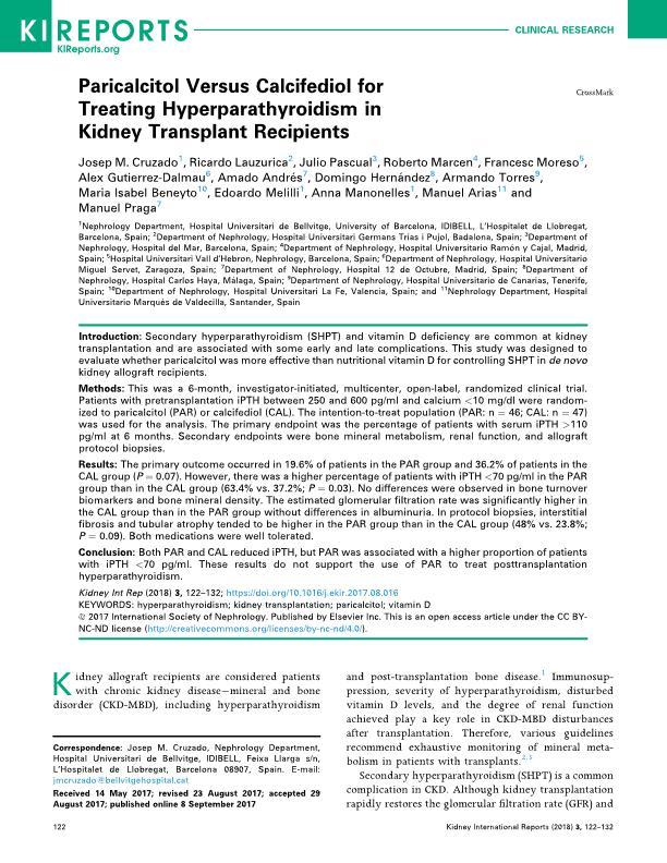Paricalcitol Versus Calcifediol for Treating Hyperparathyroidism in Kidney Transplant Recipients