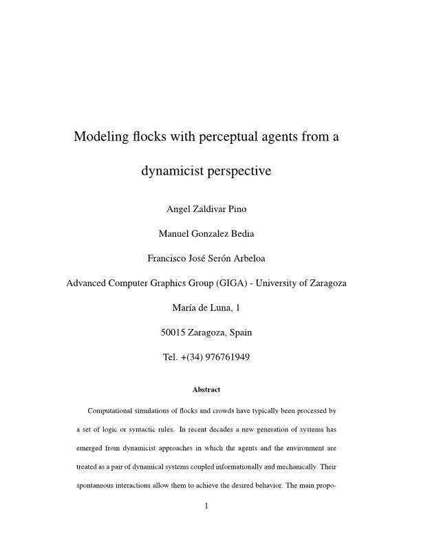 Modeling flocks with perceptual agents from a dynamicist perspective