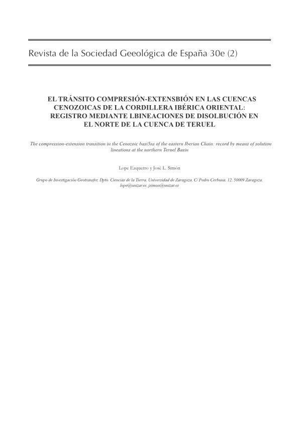 El tránsito compresión-extensión en las Cuencas cenozoicas de la cordillera Ibérica Oriental: Registro mediante lineaciones de disolución en el norte de la Cuenca de Teruel