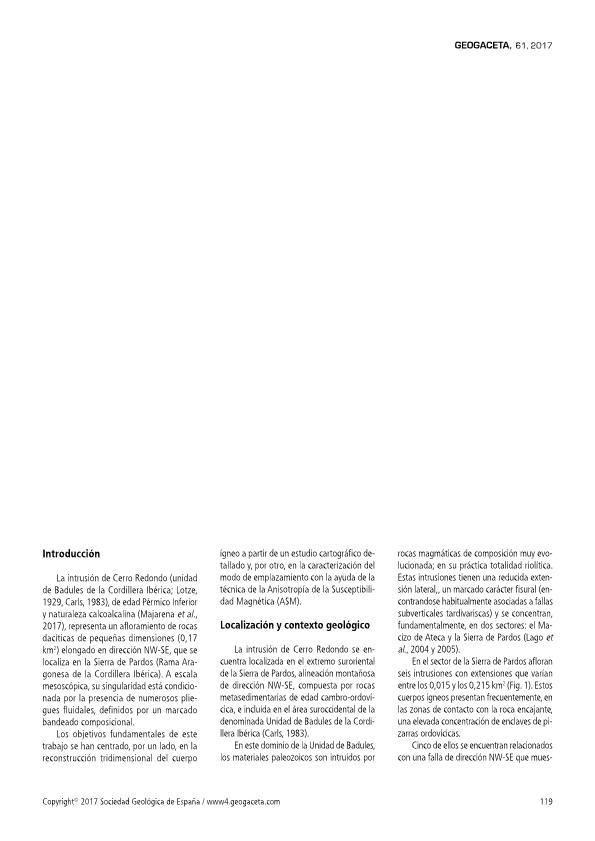 La intrusión de Cerro Redondo (Pérmico Inferior, Cordillera Ibérica, Zaragoza): reconstrucción 3D y modelo de emplazamiento