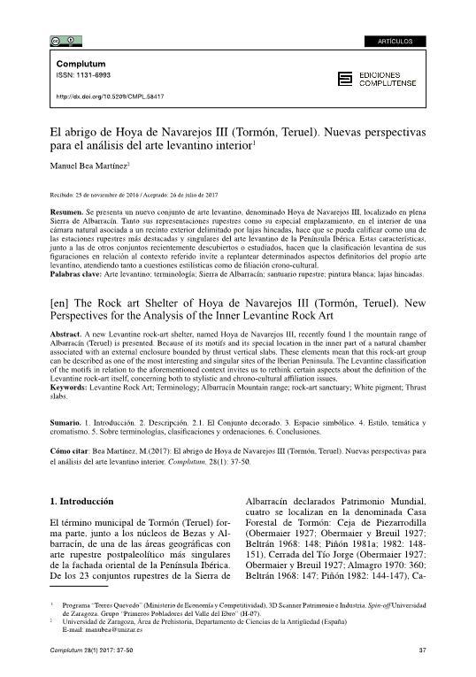 El abrigo de Hoya de Navarejos III (Tormón, Teruel). Nuevas perspectivas para el análisis del arte levantino interior