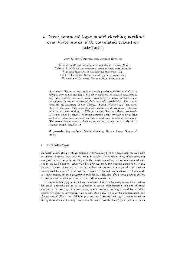A linear temporal logic model checking method over finite words with correlated transition attributes