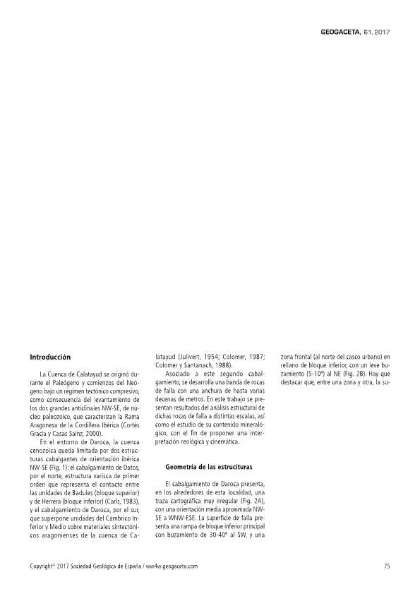 Las rocas de falla del cabalgamiento de Daroca (sector central de la Cordillera Ibérica): Interpretación reológica y cinemática
