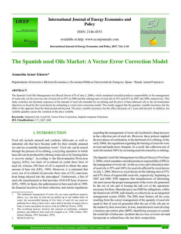 The Spanish Used Oils Market A Vector Error Correction Model