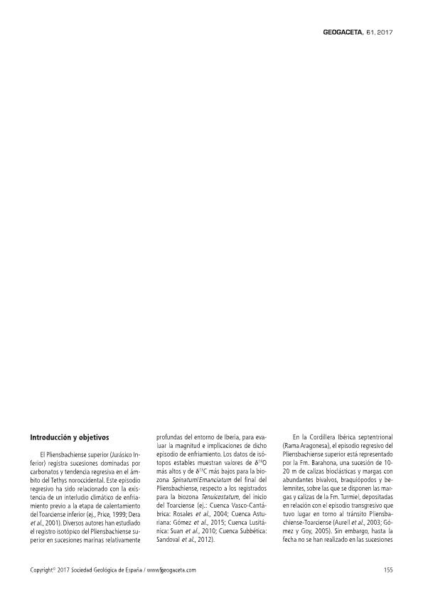 Calibración mediante isótopos de estroncio del límite Pliensbachiense-Toarciense en Obón (Teruel): Implicaciones sedimentarias