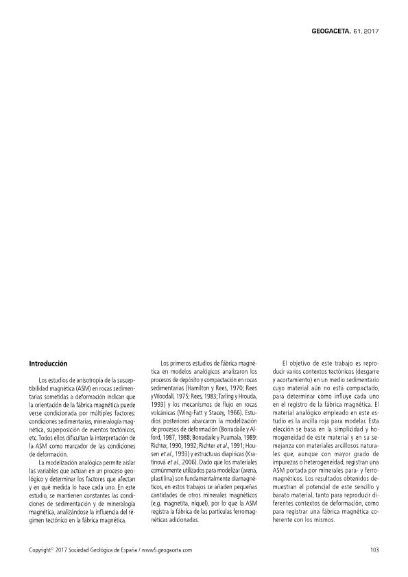 Análisis de la fábrica magnética en modelos analógicos de arcillas