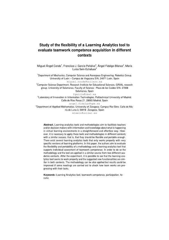 Study of the flexibility of a learning analytics tool to evaluate teamwork competence acquisition in different contexts