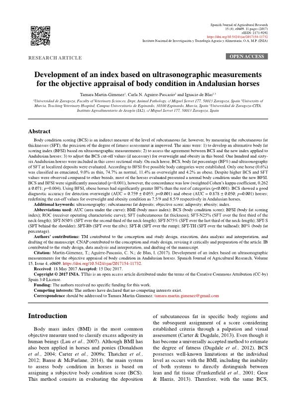 Development of an index based on ultrasonographic measurements for the objective appraisal of body condition in Andalusian horses