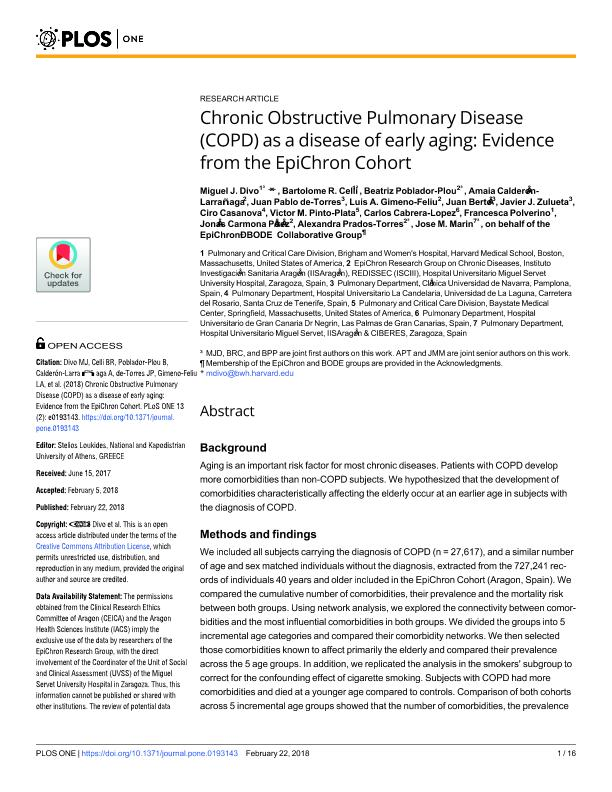 Chronic Obstructive Pulmonary Disease (COPD) as a disease of early aging: Evidence from the EpiChron Cohort