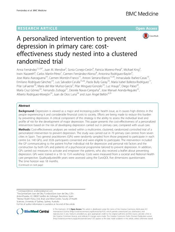 A personalized intervention to prevent depression in primary care: cost-effectiveness study nested into a clustered randomized trial