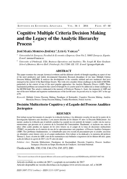 Cognitive Multiple Criteria Decision Making and the Legacy of the Analytic Hierarchy Process