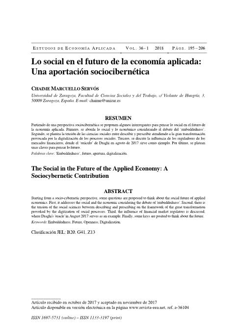 The Social in the Future of the Applied Economy: A Sociocybernetic Contribution