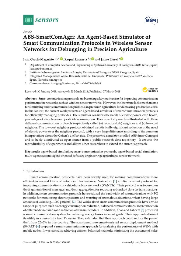 ABS-SmartComAgri: An Agent-Based Simulator of Smart Communication Protocols in Wireless Sensor Networks for Debugging in Precision Agriculture