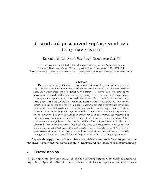 A study of postponed replacement in a delay time model