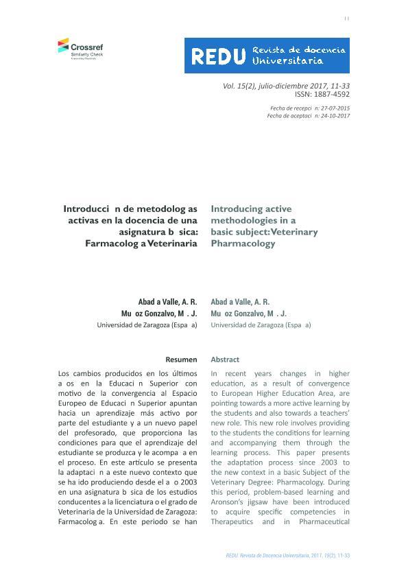 Introducción de metodologías activas en la docencia de una asignatura básica: Farmacología Veterinaria