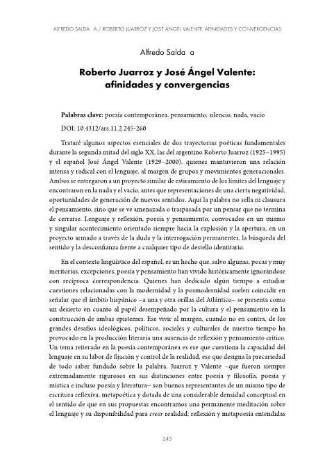 Roberto Juarroz y José Ángel Valente: afinidades y convergencias