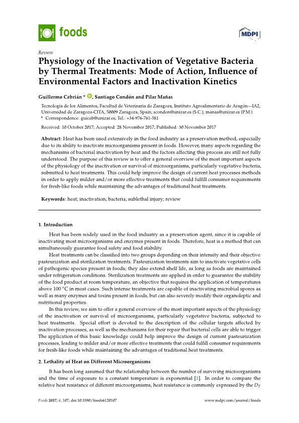 Physiology of the Inactivation of Vegetative Bacteria by Thermal Treatments: Mode of Action, Influence of Environmental Factors and Inactivation Kinetics