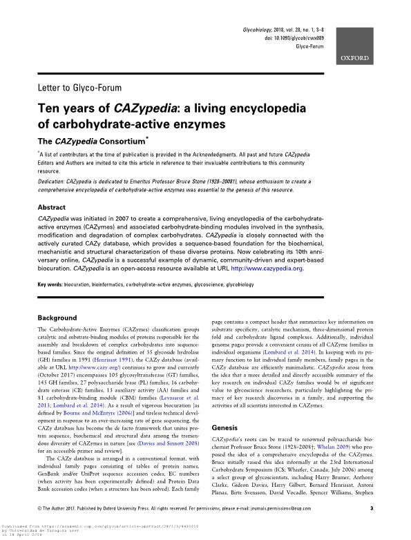 Ten years of CAZypedia: a living encyclopedia of carbohydrate-active enzymes
