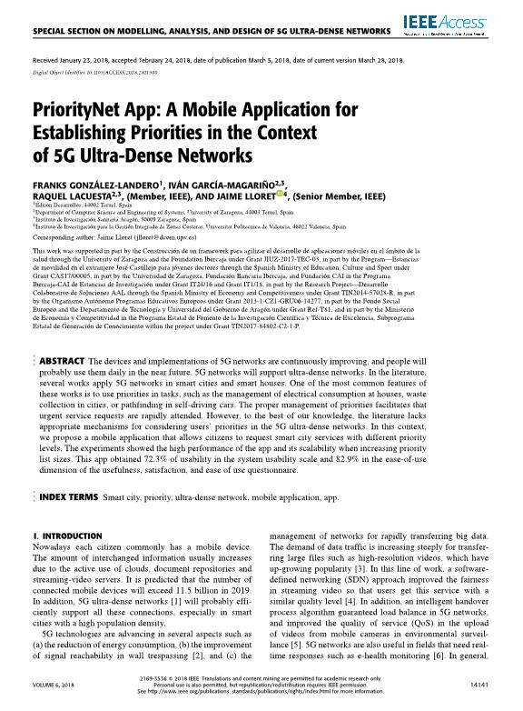 PriorityNet App: A mobile application for establishing priorities in the context of 5G ultra-dense networks