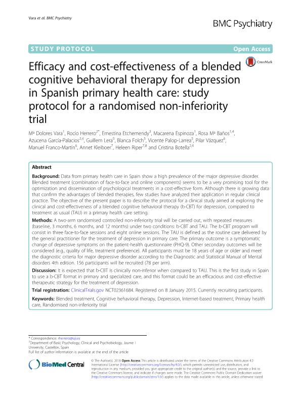 Efficacy and cost-effectiveness of a blended cognitive behavioral therapy for depression in Spanish primary health care: Study protocol for a randomised non-inferiority trial