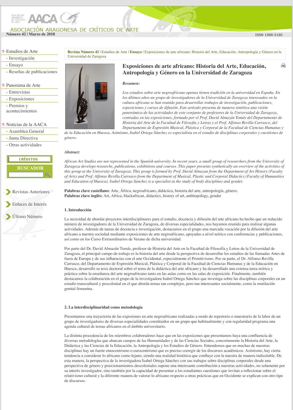 Exposiciones didácticas de arte negroafricano desde la Universidad de Zaragoza: Historia del Arte, Educación, Antropología y Género