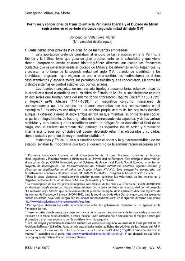 Permisos y concesiones de tránsito entre la Península Ibérica y el Ducado de Milán registrados en el periodo sforzesco (segunda mitad del siglo XV)