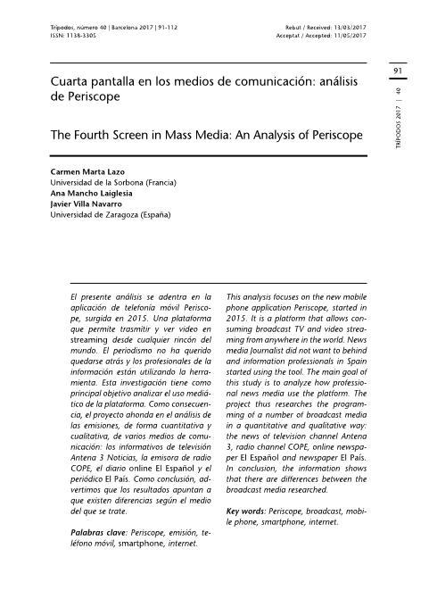 Cuarta pantalla en los medios de comunicación: análisis de Periscope