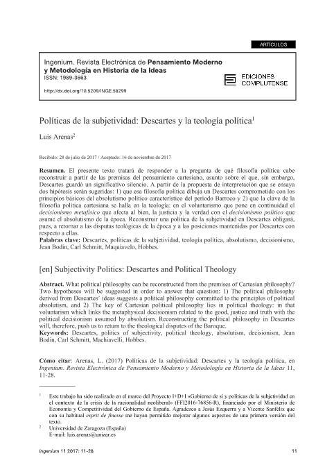 Políticas de la subjetividad: Descartes y la teología política