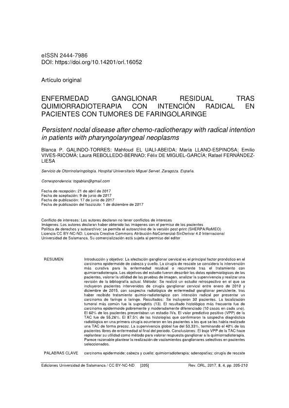 Enfermedad ganglionar residual tras quimioradioterapia con intención radical en pacientes con tumores de faringolaringe