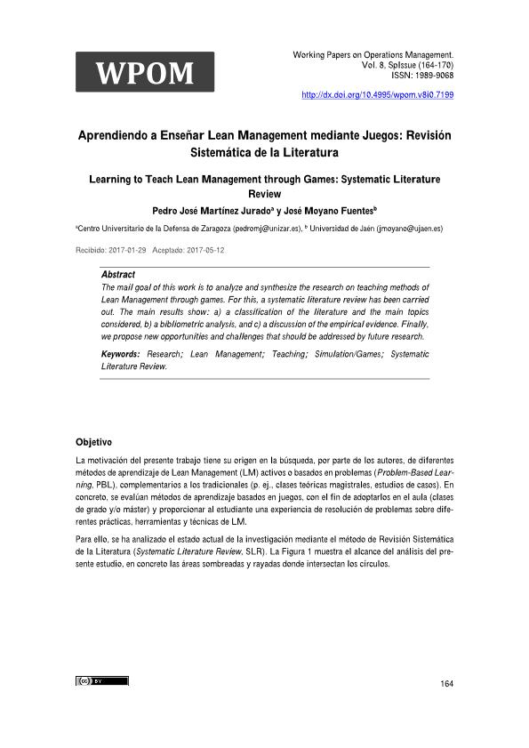 Aprendiendo a Enseñar Lean Management mediante Juegos: Revisión Sistemática de la Literatura