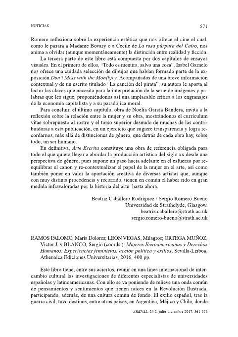 RAMOS PALOMO, María Dolores et al. (coords.): Mujeres Iberoamericanas y Derechos Humanos. Experiencias feministas, acción política y exilios, Sevilla-Lisboa, Athenaica Ediciones Universitarias, 2016
