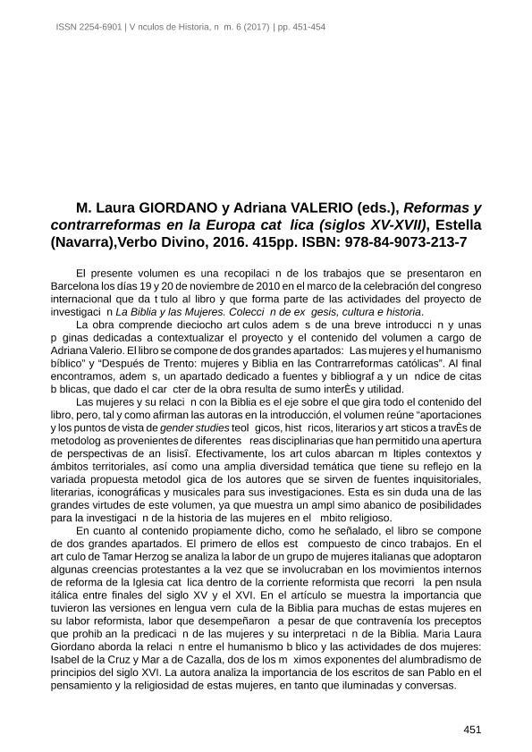 M. Laura Giordano y Adriana Valerio (eds.), Reformas y contrarreformas en la Europa católica (siglos XV-XVII), Estella (Navarra), Verbo Divino, 2016. 415pp