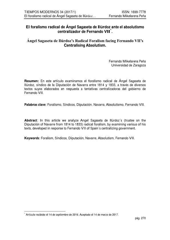 El foralismo radical de Ángel Sagaseta de Ilúrdoz ante el absolutismo centralizador de Fernando VII