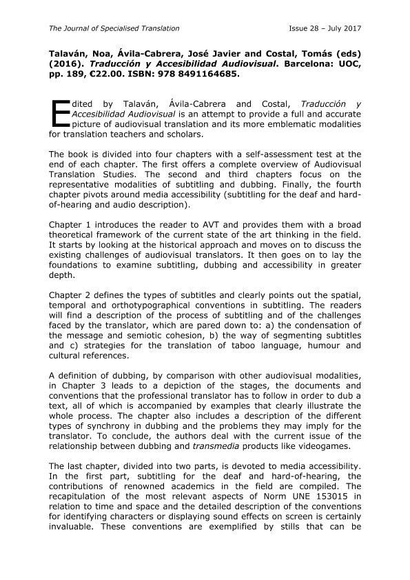 Talaván, Noa, Ávila - Cabrera, José Javier and Costal , Tomás (eds) (2016). Traducción y Accesibilidad Audiovisual