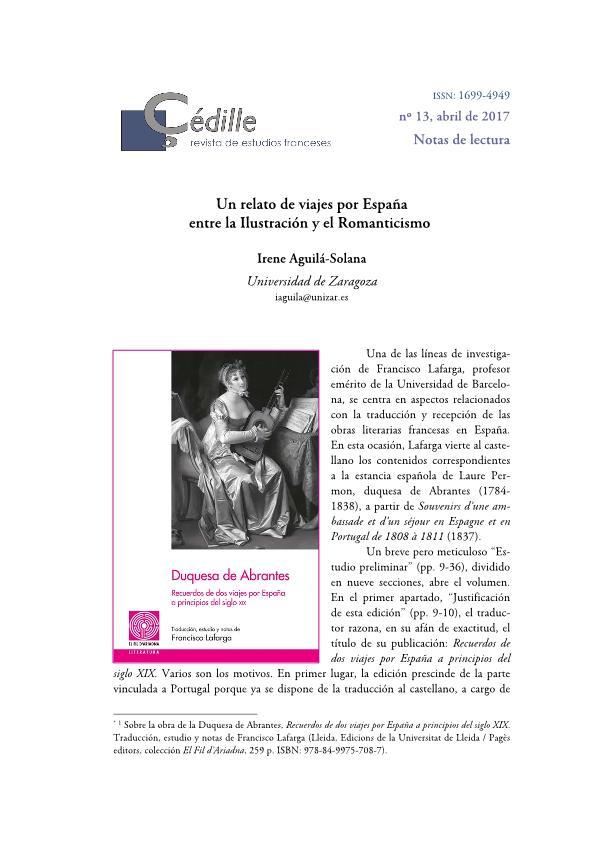 Un relato de viajes por España entre la Ilustración y el Romanticismo