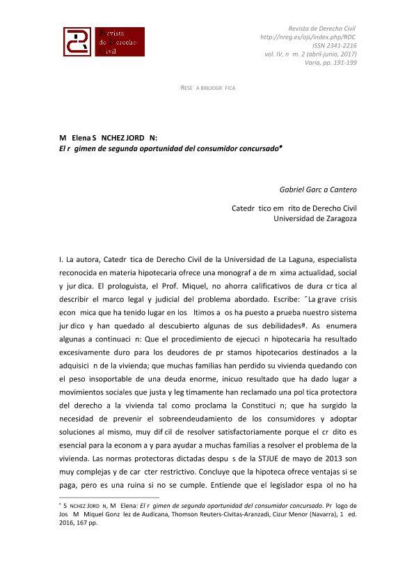 Mª Elena SÁNCHEZ JORDÁN: El régimen de segunda oportunidad del consumidor concursado