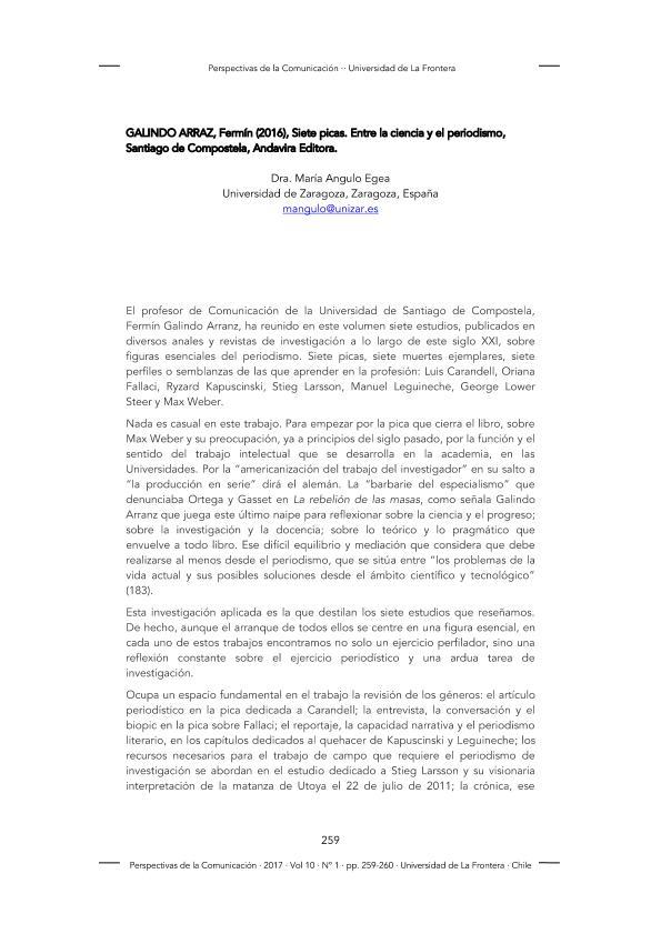 Galindo Arraz, Fermín (2016), Siete picas. Entre la ciencia y el periodismo