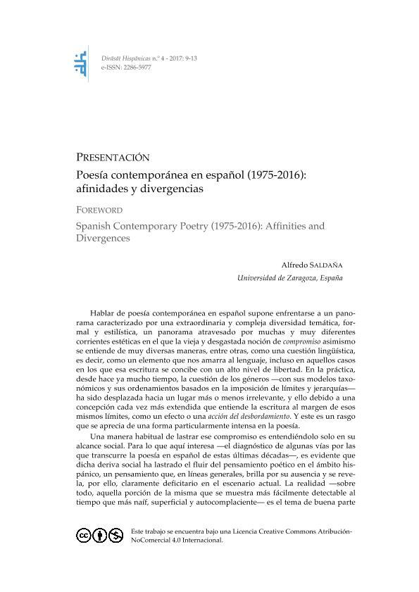 Poesía contemporánea en español (1975-2016): afinidades y divergencias