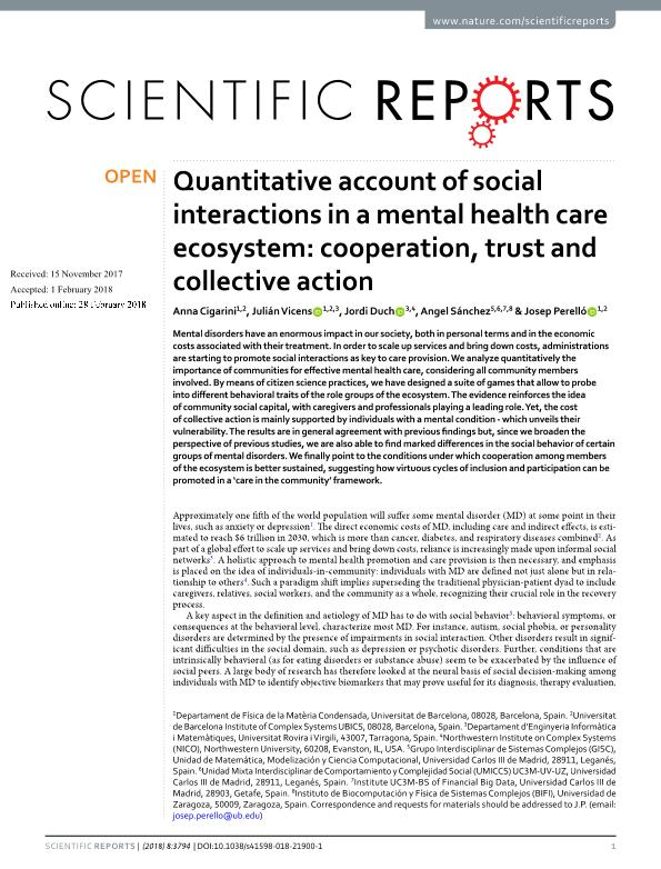 Quantitative account of social interactions in a mental health care ecosystem: cooperation, trust and collective action