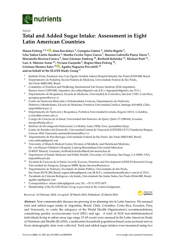 Total and added sugar intake: Assessment in eight Latin American countries