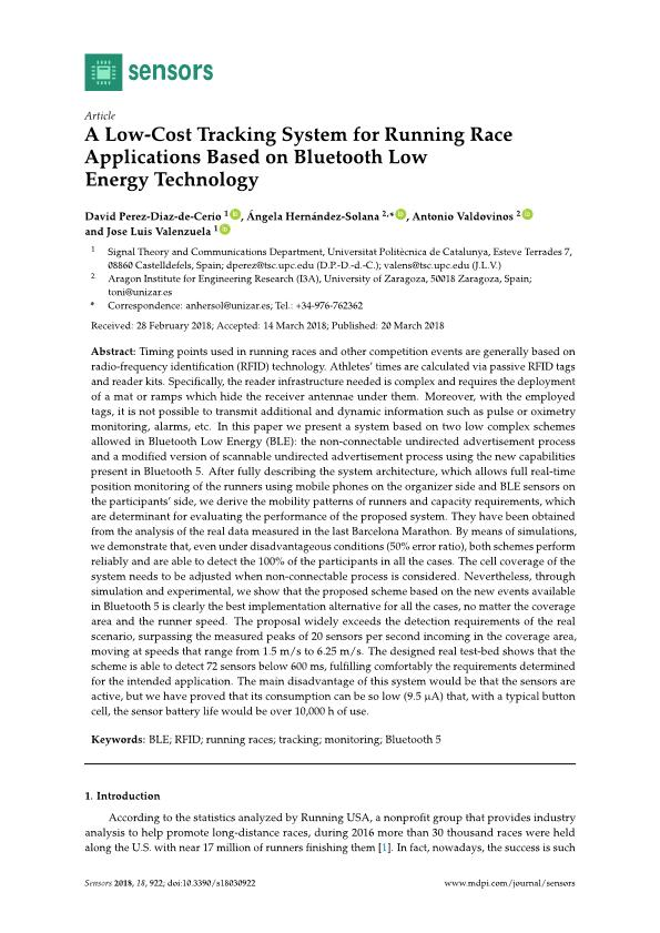 A low-cost tracking system for running race applications based on bluetooth low energy technology