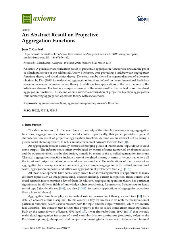 An abstract result on projective aggregation functions