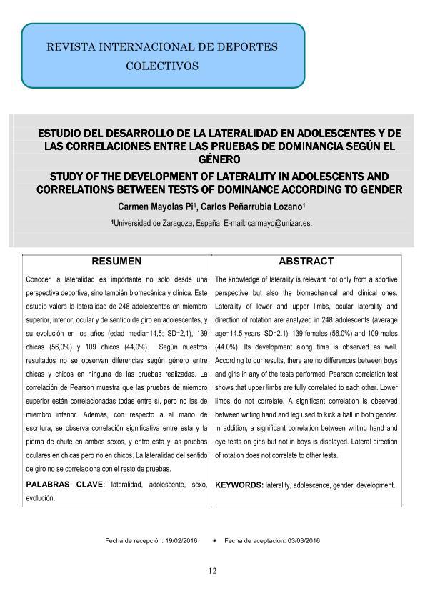 Estudio del desarrollo de la lateralidad en adolescentes y de las correlaciones entre las pruebas de dominancia según el género