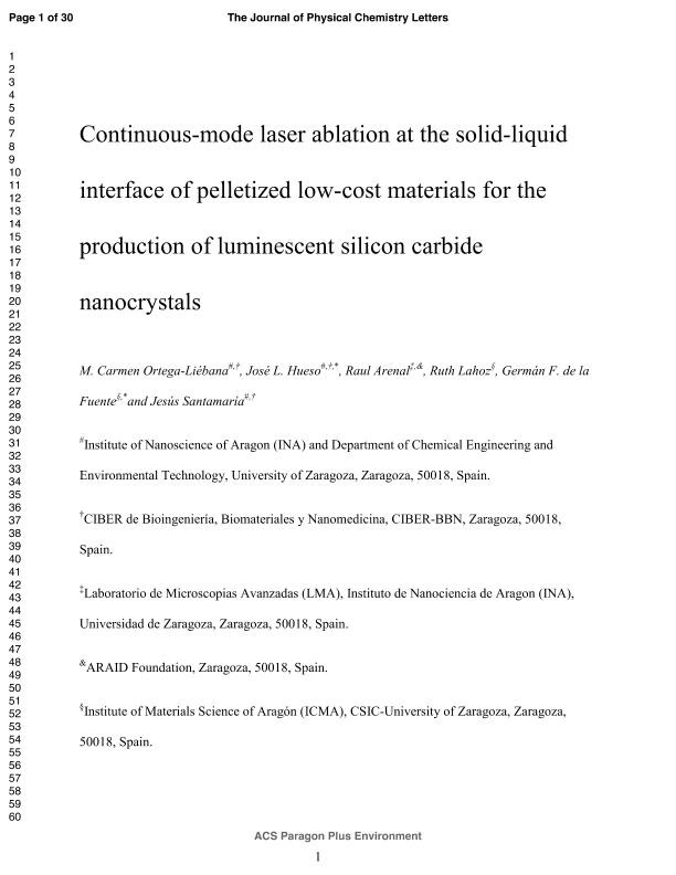 Continuous-mode laser ablation at the solid-liquid interface of pelletized low-cost materials for the production of luminescent Silicon Carbide nanocrystals